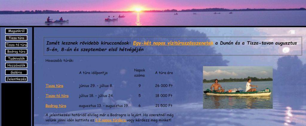 A kezdetleges 2007-es honlap